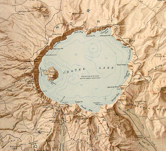 Crater Lake Topographic Map.Sample Maps