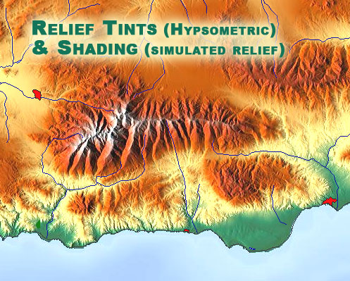 methods of showing relief on topographic maps