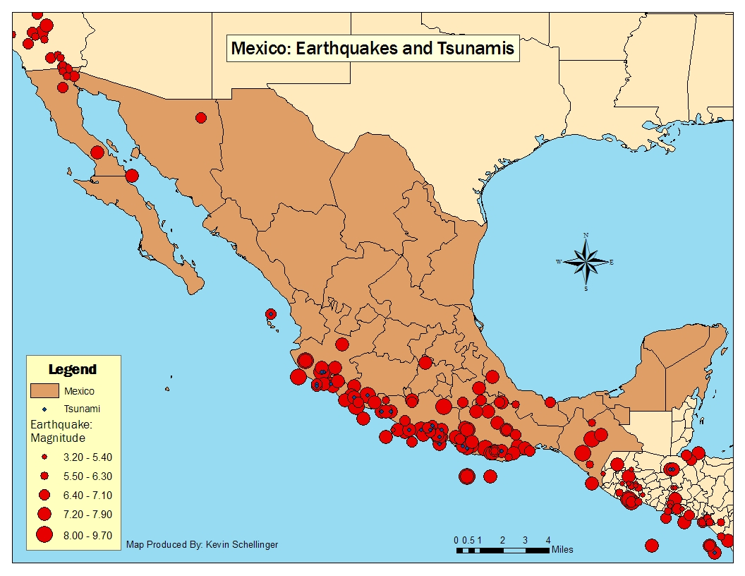Geo485551 cartography and geographic visualization web designing map 1 the location and magnitude of earthquakes in mexico each red circle is a earthquake and the size represents the magnitude gumiabroncs Image collections